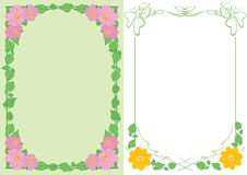 Light green and white backgrounds A4 with flowers in corners - vector vertical frames royalty free illustration