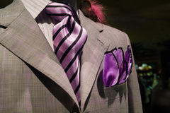 Light grey checkered jacket with purple tie. Close-up of light grey checkered jacket with white striped shirt, purple striped tie and purple handkerchief Stock Photography