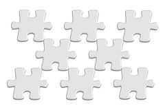 Light grey 3D jigsaw puzzle pieces Royalty Free Stock Image
