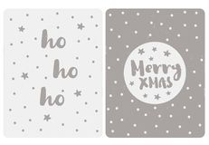 Cute Simple Christmas Vector Cards. Simple Gray Color Illustration. Light Grey and Dark Gray Background. Funny Stars and Snow. Merry Christmas in a Circle vector illustration