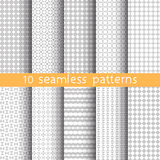 10 Light grey seamless patterns for universal background. Grey and white colors. Endless texture can be used for wallpaper, pattern fill, web page background Royalty Free Stock Photography