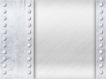 Light Grey Surface with Empty Space and Rivets. Grunge Light Grey Surface with Empty Space and Rivets, Old Metal Textured Royalty Free Stock Image