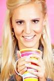 Light hair female model, drinking tea Royalty Free Stock Images