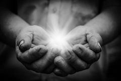 Light in hand Royalty Free Stock Photos