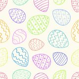 Light Easter pattern with color outline eggs Stock Images