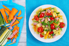 Light healthy salad of italian pasta Royalty Free Stock Image