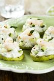 Zucchini, cucumber and shrimp appetizer Royalty Free Stock Photos