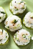 Zucchini, cucumber and shrimp appetizer Royalty Free Stock Images