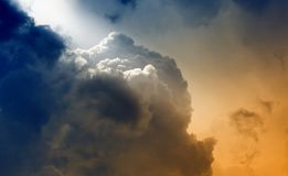 Light from heaven. Bright light beams over clouds, light from heaven Royalty Free Stock Images