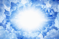Light from heaven. Beautiful peaceful background - beautiful blue skies with bright light from above, light from heaven royalty free stock images
