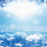 Light from heaven. Peaceful heavenly background - light from heaven, bright sunlight from above in blue sky royalty free stock photography