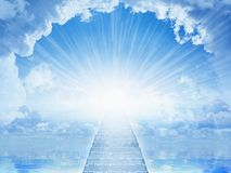 Light from heaven, staircase to heaven. Peaceful heavenly background - light from heaven, staircase to heaven, light of hope in blue skies royalty free stock photo