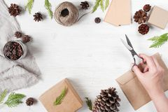 Light holiday background with gift boxes Stock Images