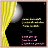 Light of hope In the dark night outside the window Stock Photos