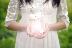 Light. The light of hope in the hand stock photography