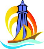 Light house. Beautiful colourful light house with ship illustrated image Royalty Free Stock Images