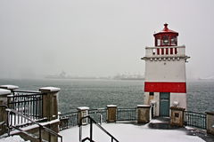 Light House beacon. After a lite Snow fall Stock Image