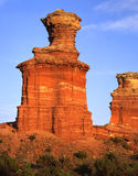 Light House Formation (V close up). A vertical close up image of the Light House formation in Texas's Palo Duro Canyon State Park royalty free stock photography