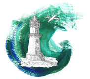 Light house with gull on green background Royalty Free Stock Image