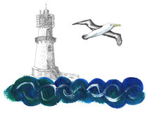 Light house with gull and wave on white Royalty Free Stock Photos