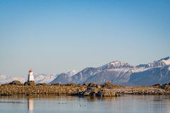 Light house at winter royalty free stock photography