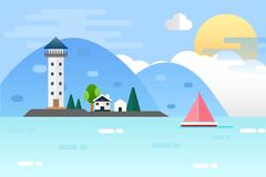 Light house and Nature Sea Landscape. Vector Illustration Flat Design Background Royalty Free Stock Photo
