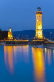 Light house at night of harbour in city Lindau Stock Image