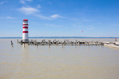 Light House In Podersdorf At Lake Neusiedl In Austria Stock Photo