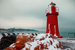 Red lighthouse in winter, La Spezia harbor Stock Photography