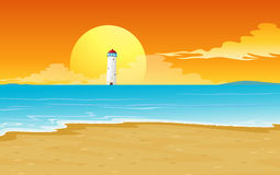 A light house and sun Royalty Free Stock Images