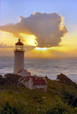 Light house at sunset. This is the light house at sun set, at cape disappointment on the or.cost Stock Images