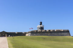 Light house on top of San Felipe del Morro Castillo. Royalty Free Stock Photo