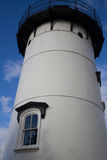 Light house. White and black light house with a cute window royalty free stock photography