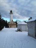 Light House in Winter stock photos