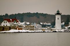 Light house in winter in New Castle NH Royalty Free Stock Photos