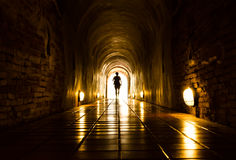 Light and human at End of Tunnel Royalty Free Stock Photo