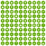 100 light icons hexagon green. 100 light icons set in green hexagon isolated vector illustration Stock Photo
