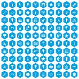 100 light icons set blue. 100 light icons set in blue hexagon isolated vector illustration royalty free illustration