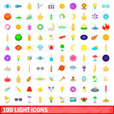 100 light icons set, cartoon style Stock Photos