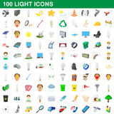 100 light icons set, cartoon style Stock Photo