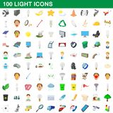 100 light icons set, cartoon style. 100 light icons set in cartoon style for any design illustration stock illustration