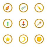 Light icons set, cartoon style. Light icons set. Cartoon style set of 9 light vector icons for web design Stock Images
