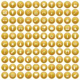 100 light icons set gold. 100 light icons set in gold circle isolated on white vector illustration Stock Illustration