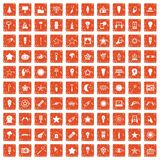 100 light icons set grunge orange. 100 light icons set in grunge style orange color isolated on white background vector illustration royalty free illustration