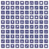 100 light icons set grunge sapphire. 100 light icons set in grunge style sapphire color isolated on white background vector illustration vector illustration