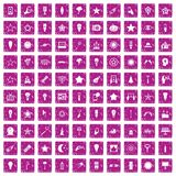 100 light icons set grunge pink. 100 light icons set in grunge style pink color isolated on white background vector illustration vector illustration