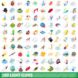 100 light icons set, isometric 3d style Stock Photos