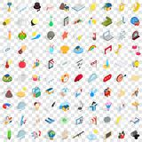 100 light icons set, isometric 3d style Stock Images