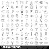 100 light icons set, outline style. 100 light icons set in outline style for any design vector illustration stock illustration