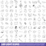 100 light icons set, outline style. 100 light icons set in outline style for any design vector illustration Stock Images